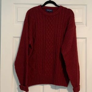 CLAY BROOKE red cable knit oversized sweater XL
